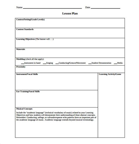 downloadable lesson plan template sle lesson plan using content based
