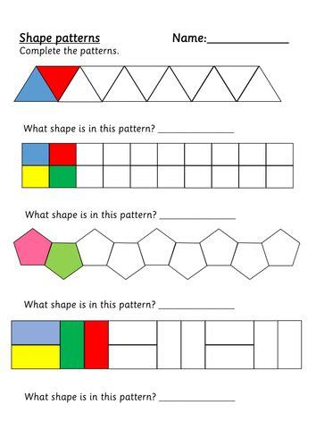 shape patterns  weezywombat teaching resources tes
