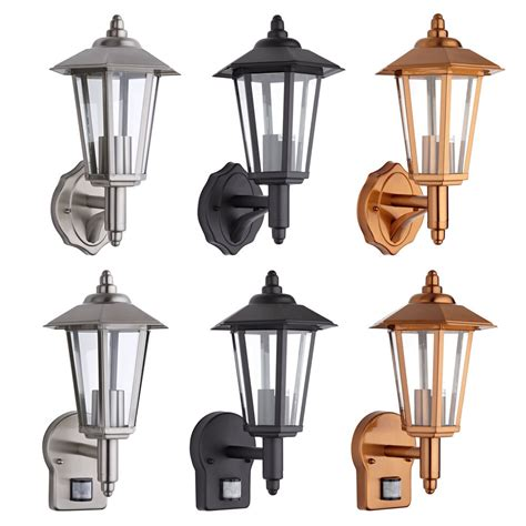 outdoor traditional wall lantern light pir stainless steel copper black ebay