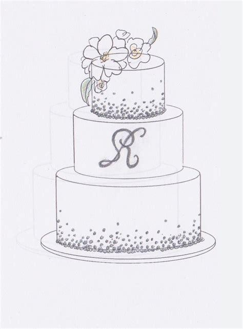 wedding cake sketch interests mongram tier