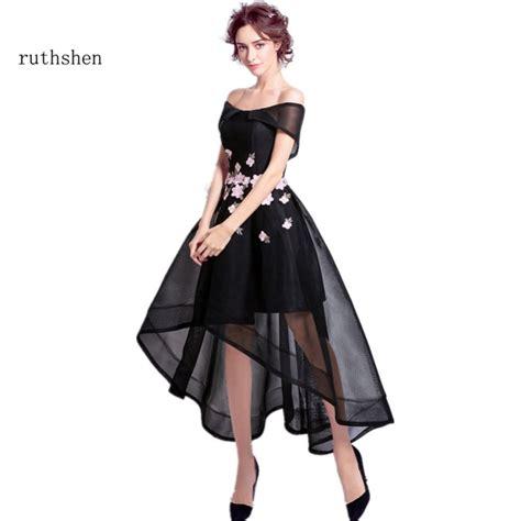 12760 Low Shoulder Flower Dress ruthshen high low black prom dresses 2017 shoulder