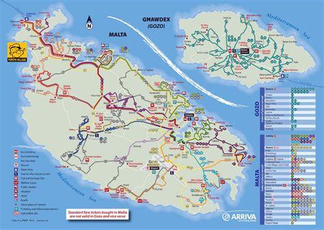 large detailed tourist map  malta  gozo  bus