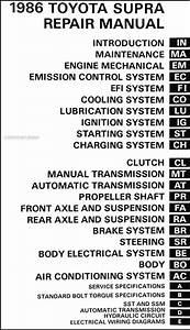 1986 Toyota Celica Supra Repair Shop Manual Original