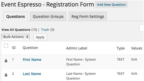 The Form Of Espresso by How To Add Questions To Event Espresso Question Groups
