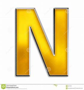Isolated Letter N In Shiny Gold Stock Photos - Image: 5021653