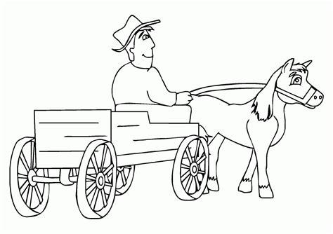 gambar mewarnai kereta kuda petani