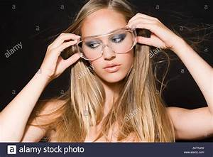 A woman wearing safety goggles Stock Photo: 15072456 - Alamy