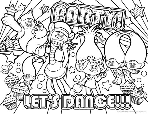 New Free Disney Trolls Printable Coloring Pages Design