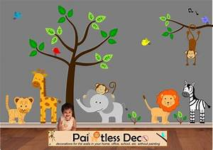 Jungle wall decal decals tree tiger