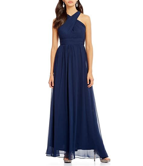 papell draped gown papell sleeveless draped halter chiffon gown