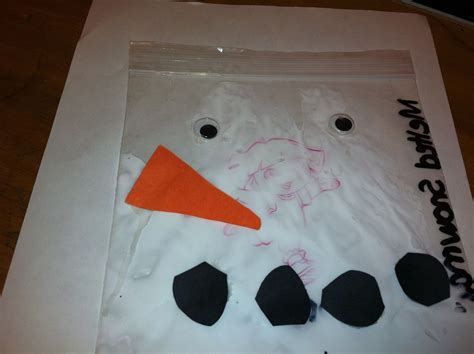 melted snowman   bag simple  messy craft perfect