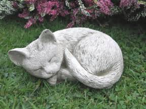Sleeping Cat Garden Ornament Stone