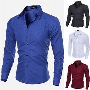 Jual Luxury New Fashion Mens Slim Fit Shirt Long Sleeve ...