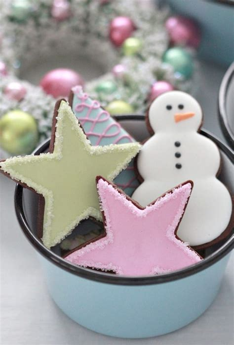 pastel christmas cookies barn light electric graniteware