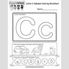 Letter C Coloring Worksheet  Free Kindergarten English Worksheet For Kids