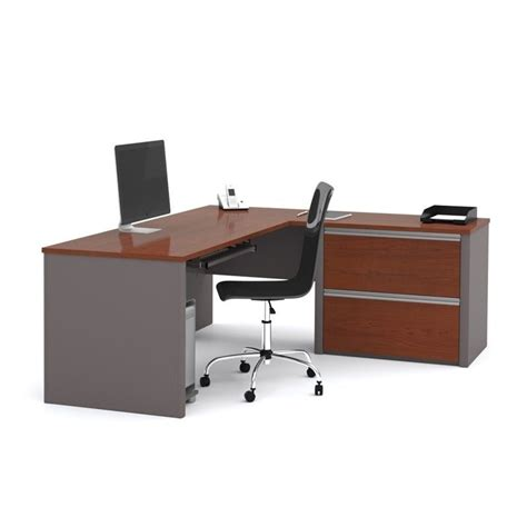 bestar connexion l shaped desk bestar connexion l shaped desk with 1 oversized pedestal
