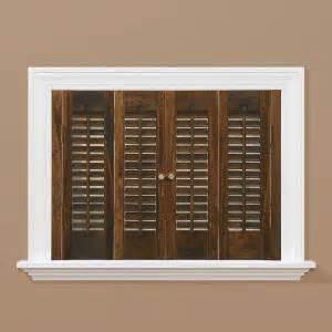 interior windows home depot homebasics traditional wood walnut interior shutter price varies by size qstd3536 the