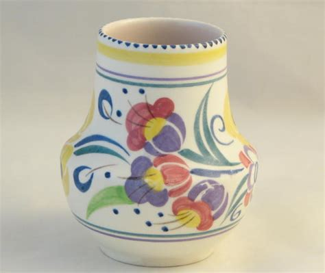 poole pottery hand painted small traditional vase
