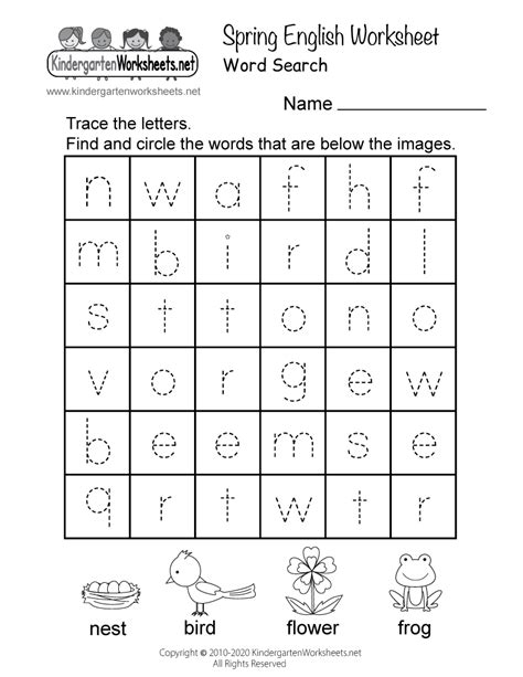spring english worksheet  kindergarten seasonal