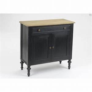 Buffet Bois Et Noir : meuble de rangement new legende en bois noir et naturel ~ Melissatoandfro.com Idées de Décoration