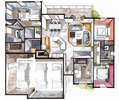 Watercolor Floorplans From Recent Television Shows And by Pin By Sergei Tumanov On Majad To Build Planos De Casas