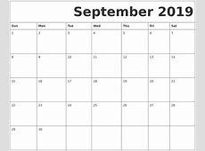 September 2019 Printable Calendar weekly printable calendar