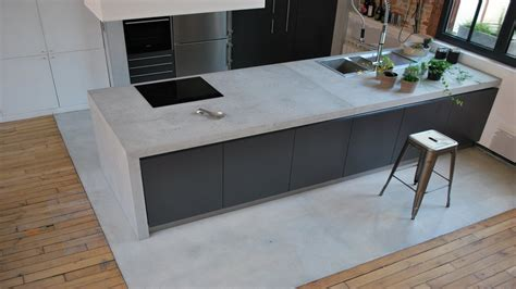 béton ciré plan de travail cuisine sur carrelage beton mineral plan de travail pas cher
