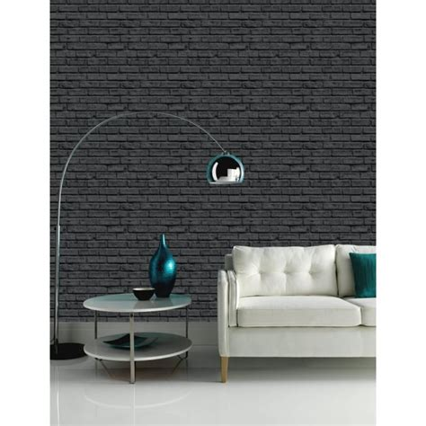 arthouse vip black brick wall pattern faux stone effect