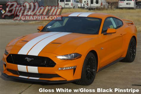 mustang wide dual stripes gloss white  gloss black