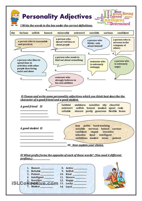 personality adjectives worksheet free esl printable