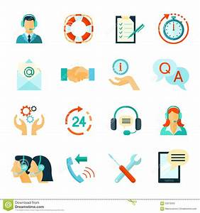 Flat Style Color Icons Of Customer Support Stock Vector ...