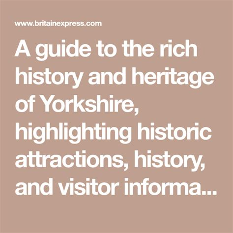 Yorkshire Travel and Heritage Guide | Yorkshire