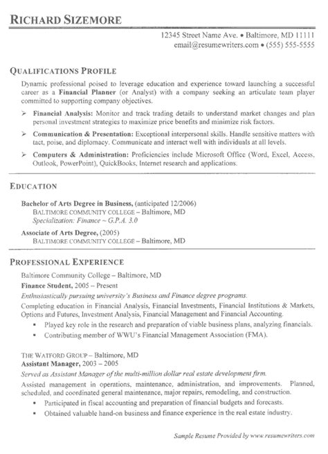 Exle Of A College Resume by Resume Exle Resume Writing With No Experience