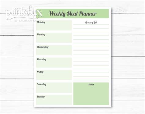 editable meal planner template weekly meal planner