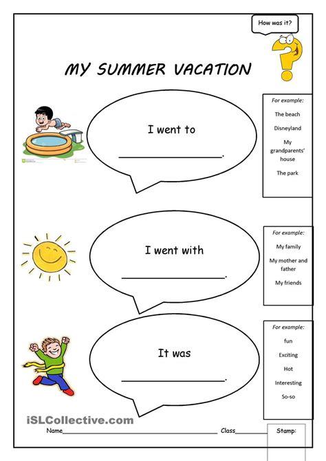 My Summer Vacation | Summer worksheets, Holiday worksheets ...