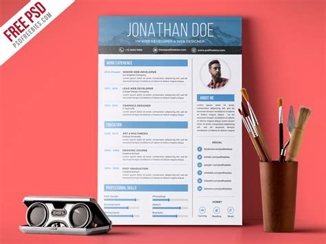 free psd creative graphic designer resume psd template