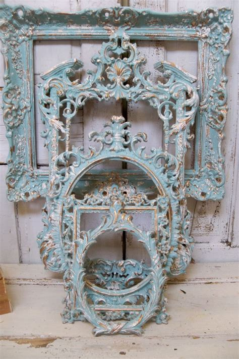 2020 popular 1 trends in home & garden, home improvement, education & office supplies, computer & office with wall decor shabby chic and 1. Aqua blue Frame grouping ornate with white distressed ...