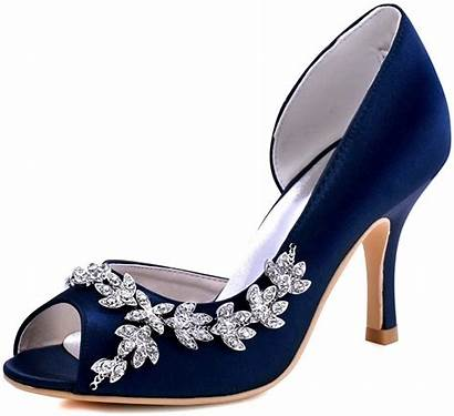 Satin Peep Toe Pumps Heel Evening Navy