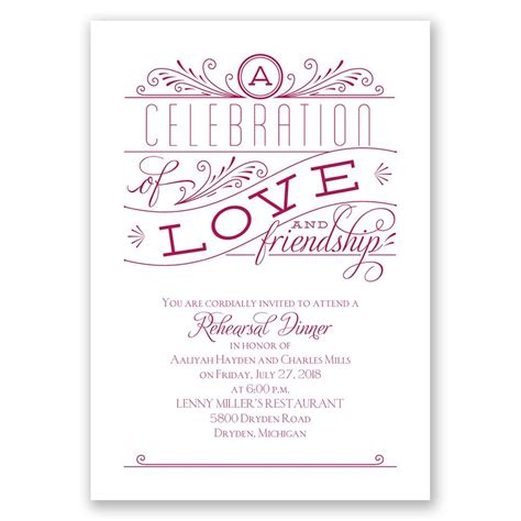 love  friendship rehearsal dinner invitation