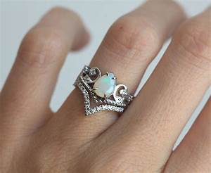 opal wedding ring set opal engagement ring set vintage With opal and diamond wedding rings