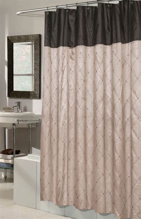 patterned fabric shower curtain taupe black