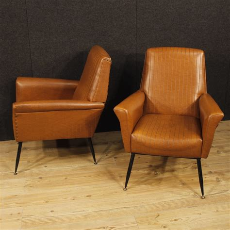 Armchairs For Sale by Pair Of Italian Design Armchairs In Faux Leather For Sale