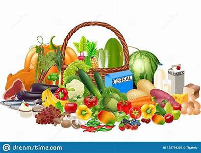 Cartoon Healthy Foods Fruits Milk Protein Contains