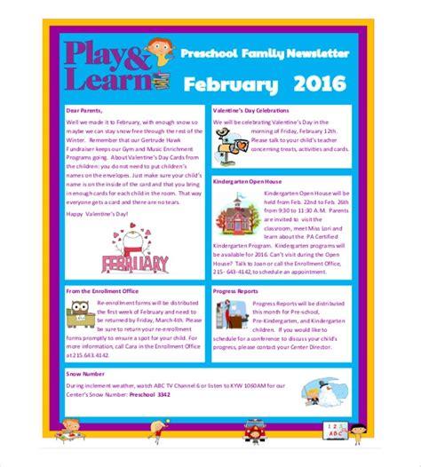 preschool newsletter templates  sample