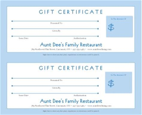 Restaurant Gift Certificate Template by Family Restaurant Gift Certificate Template Marketing