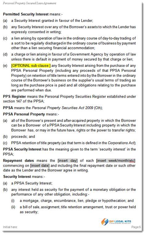 simple  secured loan agreement personal loan template