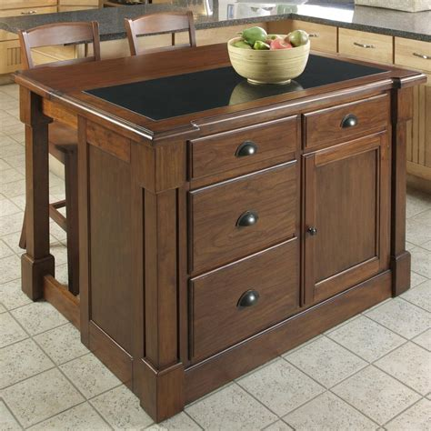 shop kitchen islands shop home styles 48 in l x 39 in w x 36 in h rustic cherry kitchen island with 2 stools at lowes com