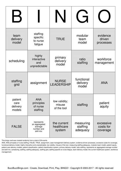 nurse bingo cards   print  customize