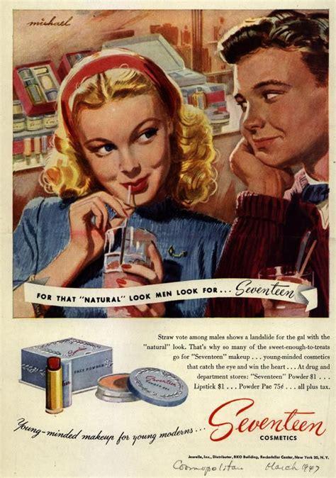 Seventeen Cosmetics ad 1947 | Vintage makeup ads, Vintage ...