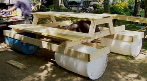 55 gallon drum furniture build an awesome floating picnic table your projects obn